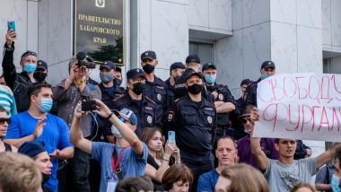 """40.000 de oameni au strigat """"Putin, demisia"""" în timpul protestelor față de arestarea unui guvernator din Orientul Îndepărtat"""