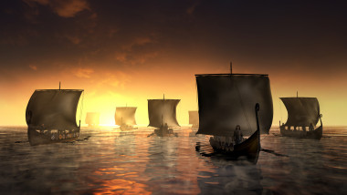 Vikings ships on the foggy water