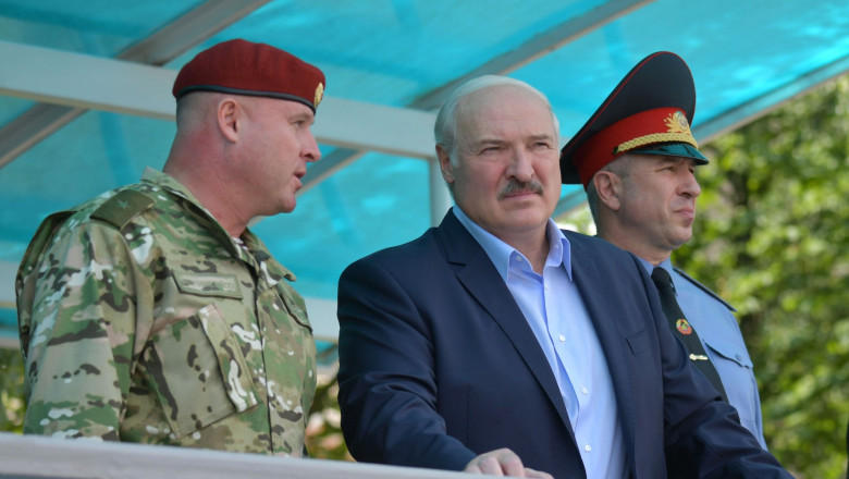 Belarus president Lukashenko visits police force in Minsk ahead of election
