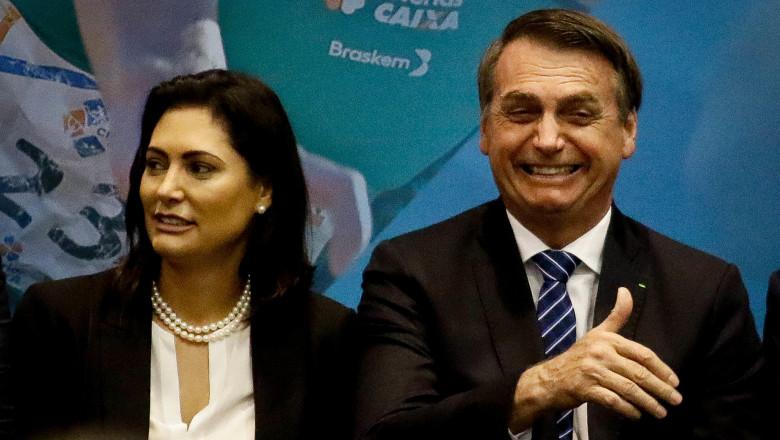 SO PAULO, SP - 19.06.2019: BOLSONARO PARTICIPA DE CERIMNIA NO CPB - In the photo, Michele Bolsonaro and Jair Bolsonaro. The President of the Republic, Jair Bolsonaro and his wife Michele Bolsonaro, will come to the city of So Paulo this morning (19) to pa