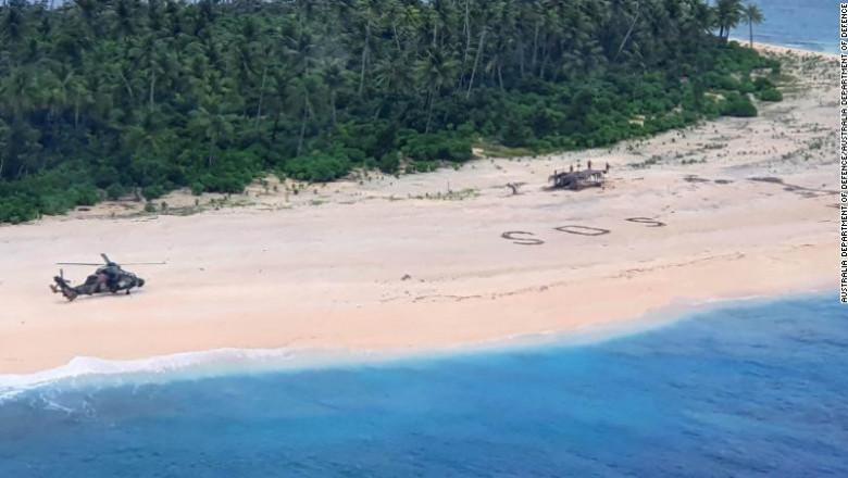 Salvare ca-n filme. Trei marinari au fost salvați de pe o insulă pustie după ce au scris SOS pe nisip