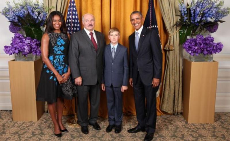 lukasenko si fiul cu sotii obama - siteul prezidential