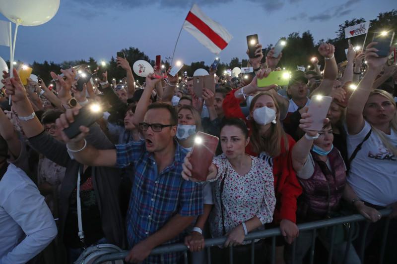 Rally supporting presidential candidate Tikhanovskaya in Minsk, Belarus