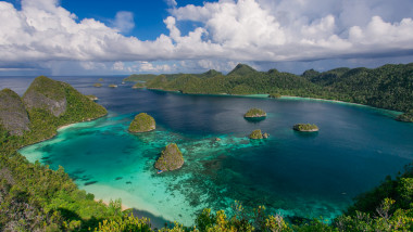 The archipelago of paradise islands in the ocean