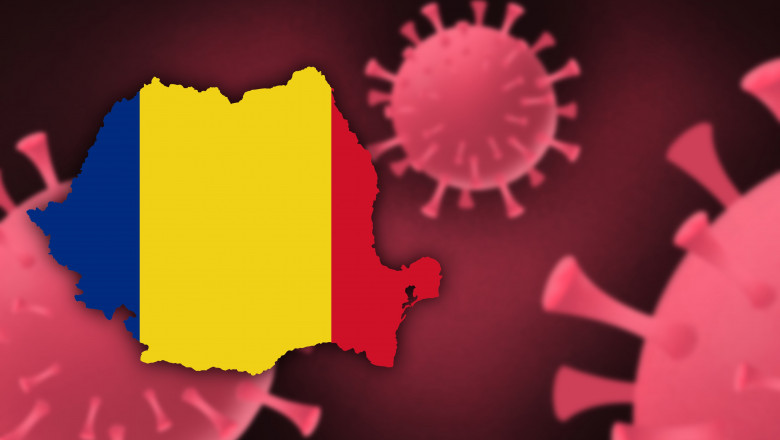 Romania map with flag pattern on corona virus update on corona virus background, space for add text,information,report new case,total deaths,new deaths,serious critical,active cases