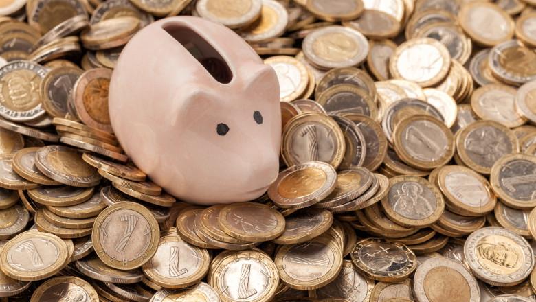 piggy Bank in metal Bulgarian coins