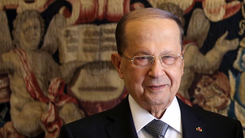 President of Lebanon Michel Aoun papal audience, Vatican, Rome, Italy - 16 Mar 2017