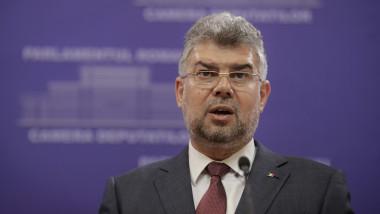 Președintele PSD, Marcel Ciolacu sustine un discurs