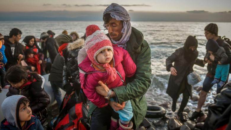 Refugiați sirieni în Lesbos