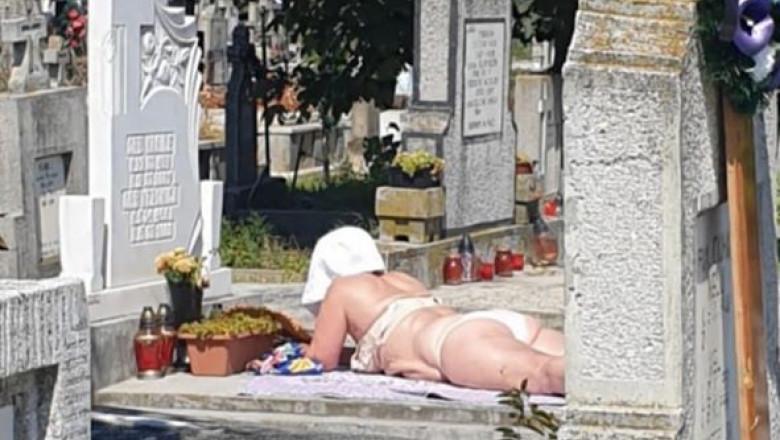 femeie la plajă în cimitir