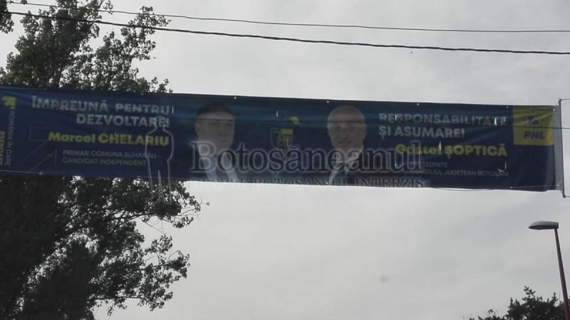 primar Suharău pe bannere PSD și PNL