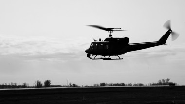 A UH-1N Huey flies through the air at Minot Air Force Base, North Dakota, May 10, 2019. Airmen assigned to the 54th Helicopter Squadron regularly train to ensure they are ready at a moment's notice. (U.S. Air Force photo by Heather LeVeille)