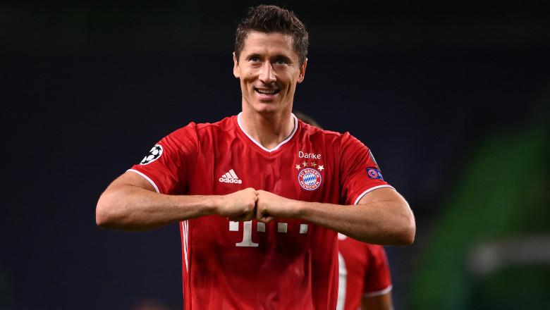 Robert Lewandowski (Bayern Munchen) se bucură după ce a înscris în meciul împotriva Olympique Lyon, care a adus calificarea echipei sale în finala UEFA Champions League 2020