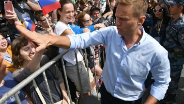 Aleksei Navalnîi la un miting anticorupție în iulie 2019