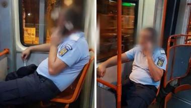 jandarm fara masca tramvai foto facebook Jandarmeria Ialomita