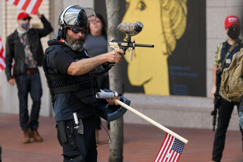 """Right-wing """"Proud Boys"""" Demonstrate in Portland"""