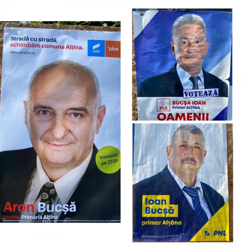 Afișele electorale ale candidaților PNL, PSD și USR PLUS pe care îi cheamă Bucșă