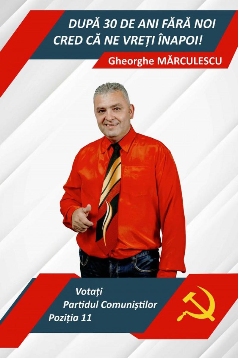 afiş electoral gheorghe mărculescu partidul comunist