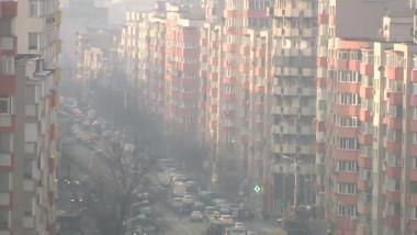 bucuresti poluare ceata blocuri trafic - captura