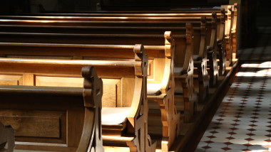 Church wooden bench
