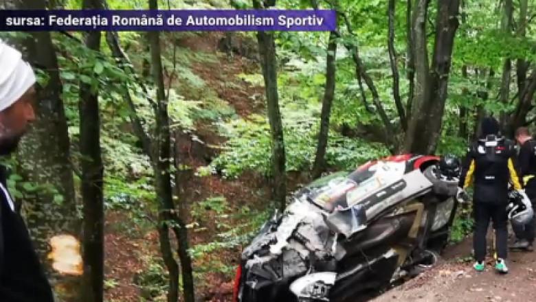 FOTO. Accident grav la Raliul Transilvaniei. Pilotul a ajuns la spital