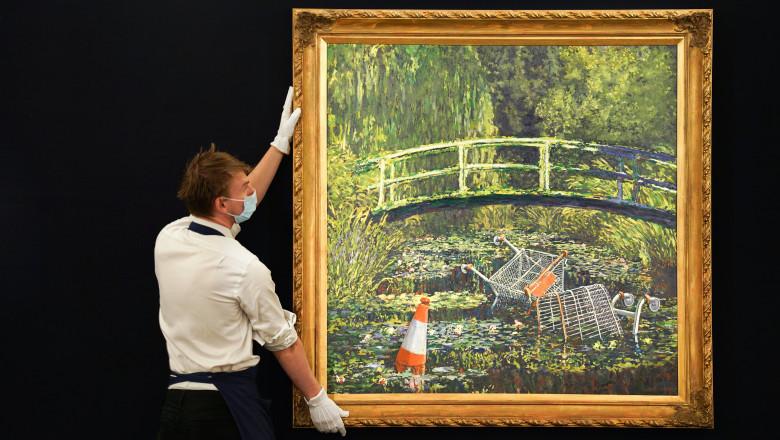 Tabloul Show Me the Monet, lucrarea artistului stradal Banksy, este scos la licitație