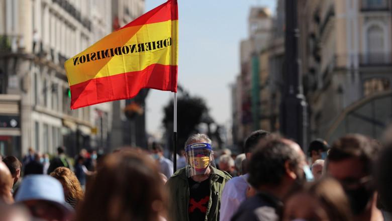 Protest la Madrid dupa carantina impusa