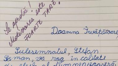 Un elev de clasa a IV-a, care nu mai vrea teme de weekend, a făcut o cerere către învățătoarea sa