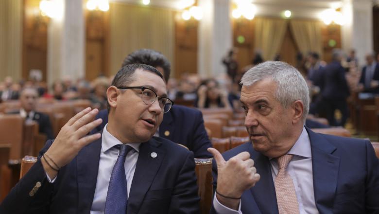 victor ponta si calin popescu tariceanu in plenul parlamentului