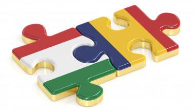 Piese de puzzle unite cu steaguri românia ungaria