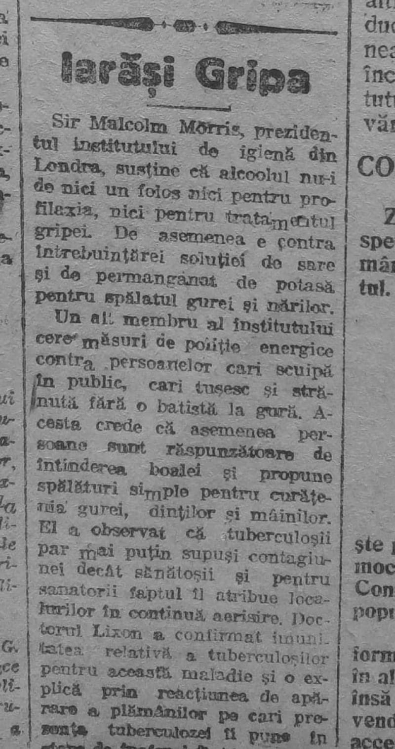 știre despre gripa spaniolă, în ziarul Universul, 7 martie 1919