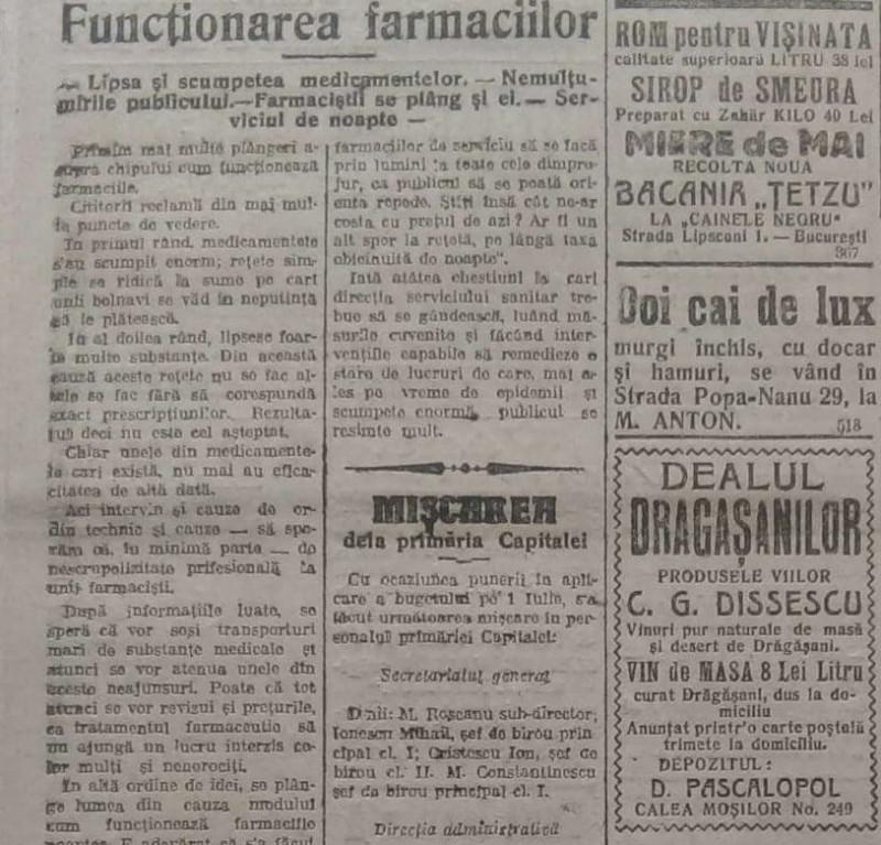 criză medicamente în farmacii, în timpul epidemiei de gripă spaniolă, Universul, 19 iulie