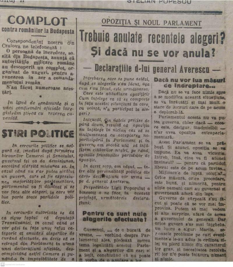 """deschidere de ziar Opoziția cere anularea alegerilor, """"Universul"""", 15 noiembrie 1919"""