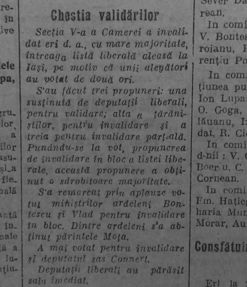 """știre """"Univesul"""" din noiembrie 1919 despre criza politică"""