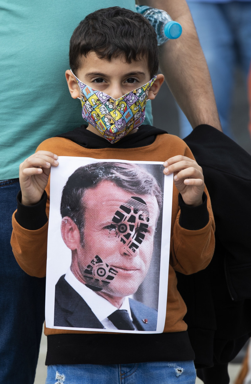 Protest against Macron's comments over Prophet Muhammad cartoons in Istanbul