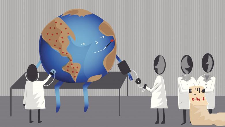 animatie grafica planeta bolnava consultata de medici