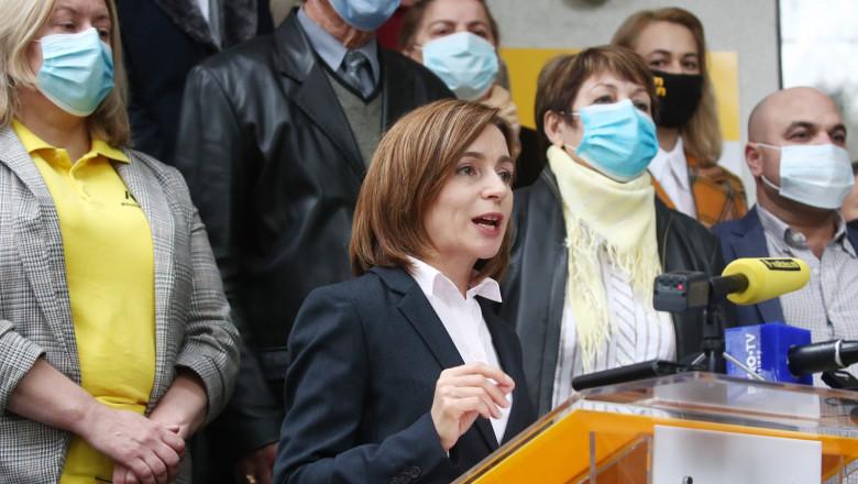 Maia Sandu, candidat Partidul Acţiune şi Solidaritate (PAS) la un miting electoral, alegeri prezidenţiale Moldova 2020