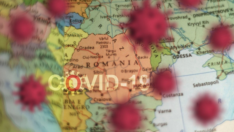 Covid-19 outbreak or new Coronavirus, 2019-nCoV, virus on a map of ROMANIA . Covid 19-NCP virus: contagion and propagation of disease. Pandemic and vi