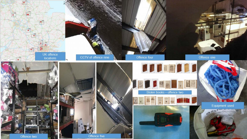 Collage of damage to venues, stolen property and equipment