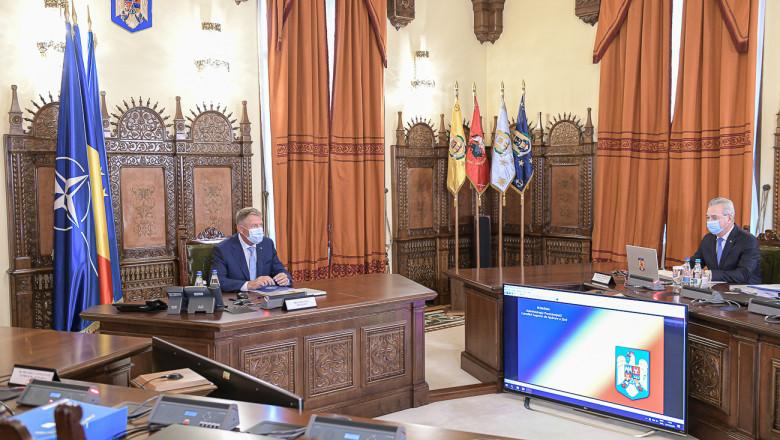 Preşedintele Klaus Iohannis prezidează o şedinţă CSAT la Cotroceni, ţinută prin videoconferinţă