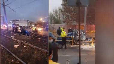 Accident grav pe Șoseaua Virtuții din București: o mașină s-a răsturnat pe linia tramvaiului 41