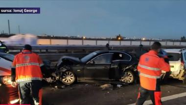 Accident pe Autostrada București-Pitești, cu zece mașini implicate