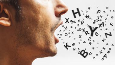 cuvinte care ies din gura unui om, reprezentare grafică