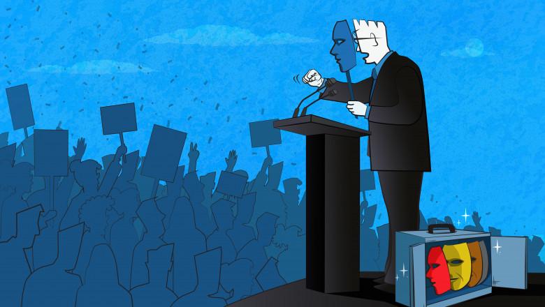 politician masca exit poll alegeri discurs
