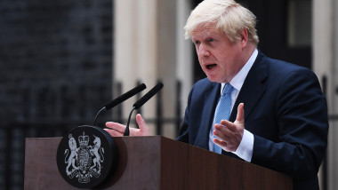 Prime Minister Boris Johnson Delivers Speech Outside 10 Downing Street