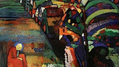 tablou Painting with houses Kandinsky