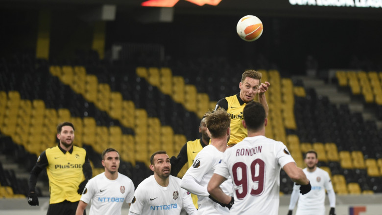 Fază de joc din meciul Young Boys Berna - CFR Cluj.