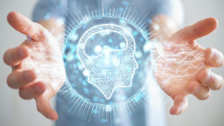 concept grafic care ilustreaza legatura dintre om si inteligenta artificiala