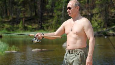 Russian President Vladimir Putin fishing