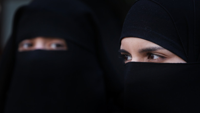 Demonstrators Protest Over The Introduction Of A Ban On Women Covering Their Faces In France